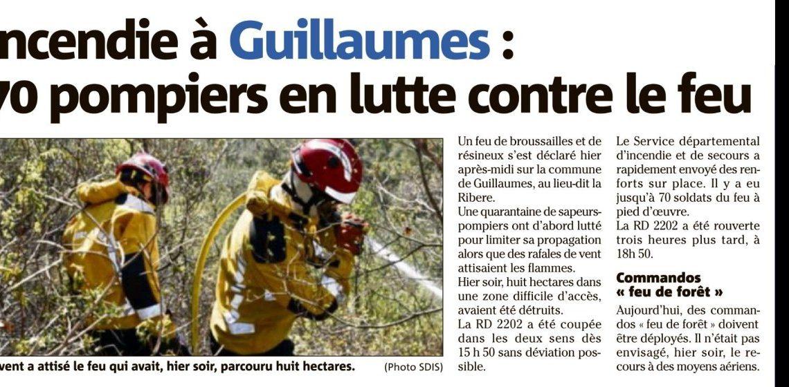 Guillaumes – 70 pompiers en lutte contre le feu