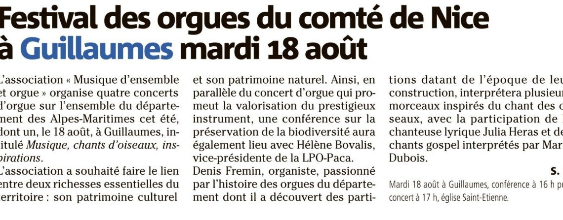 Guillaumes – Festival des orgues du comté de Nice
