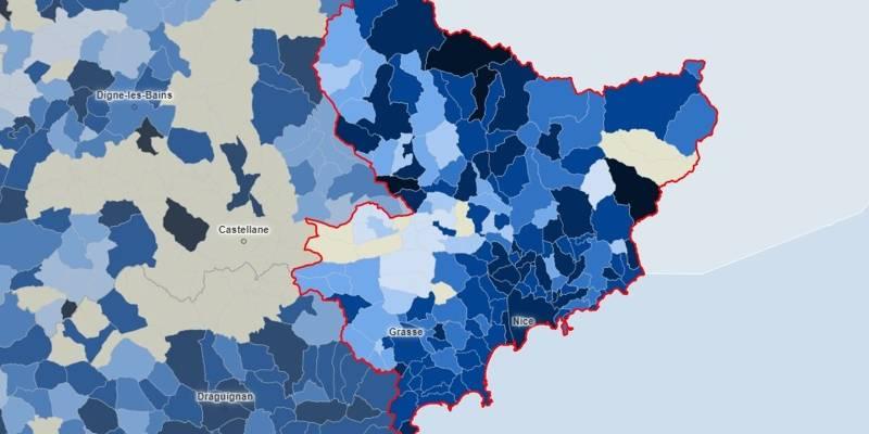 Covid-19: la carte de l'épidémie dans les Alpes-Maritimes, commune par commune