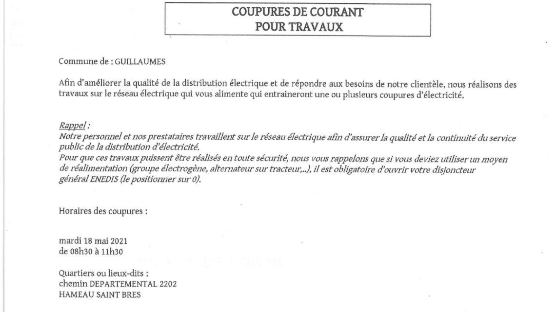 COUPURE DE COURANT POUR TRAVAUX HAMEAU DE SAINT BRES MARDI 18 MAI 2021